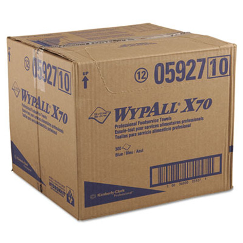 WypAll* X70 Foodservice Towels, 1/4-Fold, 12 1/2 x 23 1/2, Blue, 300/Carton (KCC 05927)
