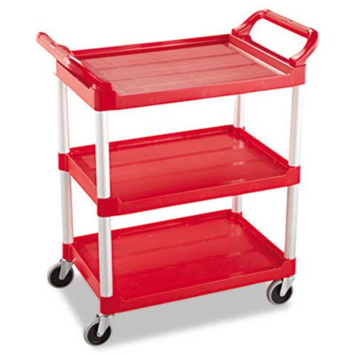 Rubbermaid Commercial Service Cart  200-lb Capacity  Three-Shelf  18 63w x 33 63d x 37 75h  Red (RCP 3424-88 RED)