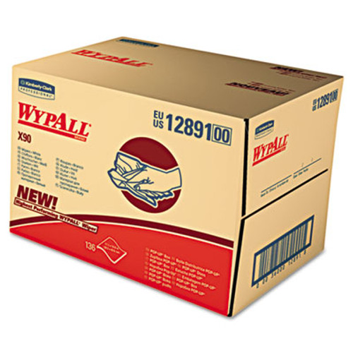 WypAll X90 Cloths  Brag Box  11 1 10 x 16 4 5  Denim Blue  136 Box  1 Box Carton (KCC 12891)