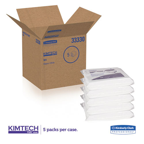 Kimtech W4 Critical Task Wipers  Flat Double Bag  12x12  White  100 Pack  5 Packs Carton (KCC 33330)