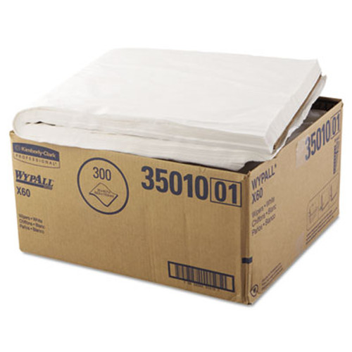 WypAll* X60 Towels, Flat Sheet, 22 1/2 x 39, White, 100/Box, 3 Boxes/Carton (KCC 35010)