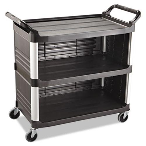 Rubbermaid Commercial Xtra Utility Cart  300-lb Capacity  Three-Shelf  20w x 40 63d x 37 8h  Black (RCP 4093 BLA)