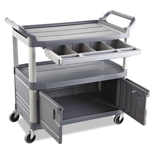 Rubbermaid Commercial Xtra Instrument Cart  300-lb Capacity  Three-Shelf  20w x 40 63d x 37 8h  Gray (RCP 4094 GRA)
