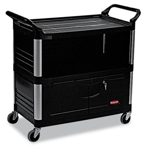 Rubbermaid Commercial Xtra Equipment Cart  300-lb Capacity  Three-Shelf  20 75w x 40 63d x 37 8h  Black (RCP 4095 BLA)
