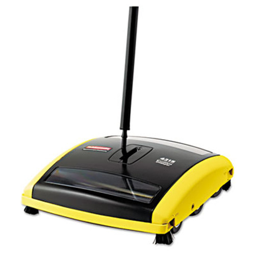 Rubbermaid Commercial Brushless Mechanical Sweeper  44  Handle  Black Yellow (RCP 4215-88 BLA)