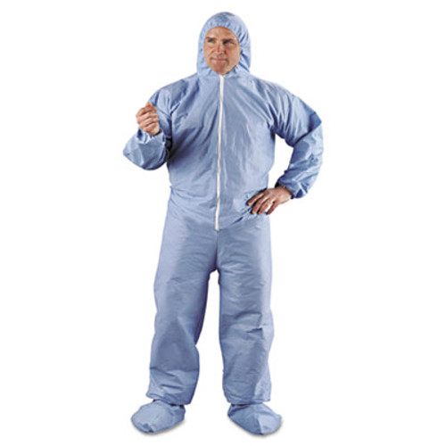 KleenGuard* A65 Hood & Boot Flame-Resistant Coveralls, Blue, 2X-Large, 25/Carton (KCC 45355)