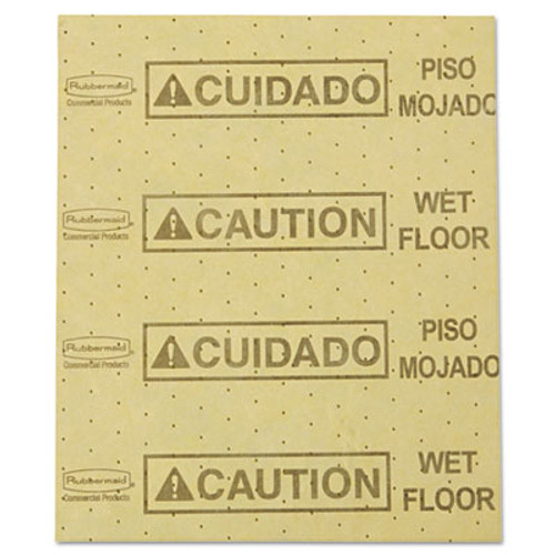 Rubbermaid Commercial Over-the-Spill Pad   Caution Wet Floor   Yellow  16 1 2  x 20   22 Sheets Pad (RCP 4252 YEL)