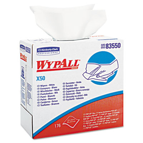 WypAll X50 Cloths  POP-UP Box  9 1 10 x 12 1 2  White  176 Box  10 Boxes Carton (KCC 83550)