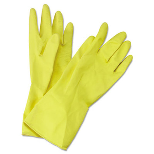 Boardwalk Flock-Lined Latex Cleaning Gloves  Medium  Yellow  12 Pairs (BWK 242M)