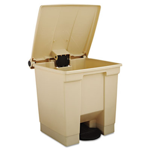 Rubbermaid Commercial Indoor Utility Step-On Waste Container, Square, Plastic, 8gal, Beige (RCP 6143 BEI)