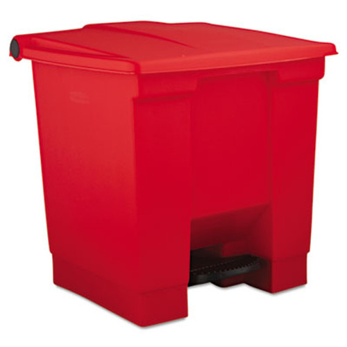 Rubbermaid Commercial Indoor Utility Step-On Waste Container, Square, Plastic, 8gal, Red (RCP 6143 RED)