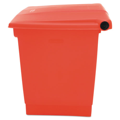 Rubbermaid Commercial Indoor Utility Step-On Waste Container  Square  Plastic  8 gal  Red (RCP 6143 RED)