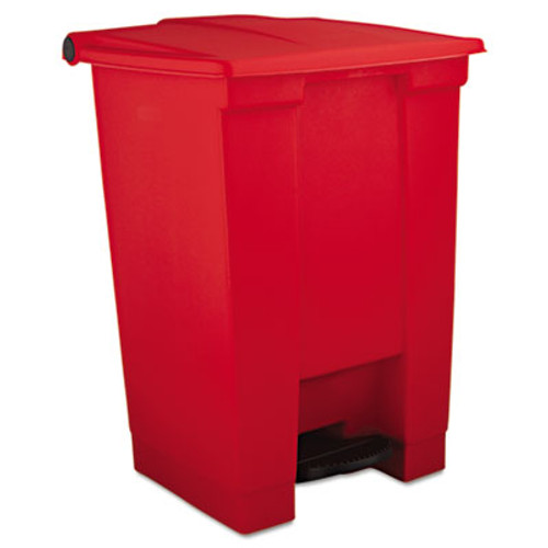 Rubbermaid Commercial Indoor Utility Step-On Waste Container, Square, Plastic, 12gal, Red (RCP 6144 RED)
