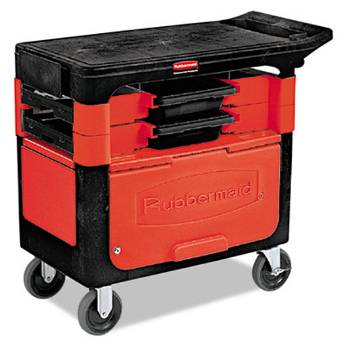 Rubbermaid Commercial Locking Trades Cart  330-lb Capacity  Two-Shelf  19 25w x 38d x 33 38h  Black (RCP 6180-88 BLA)