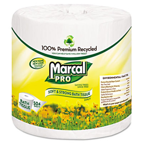 Marcal PRO 100  Recycled Two-Ply Bath Tissue  Septic Safe  2-Ply  White  500 Sheets Roll  48 Rolls Carton (MAC 5001)