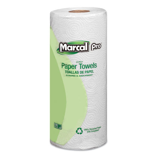 Marcal PRO 100  Premium Recycled Towels  2-Ply  11 x 9  White  70 Roll  30 Rolls Carton (MAC 630)