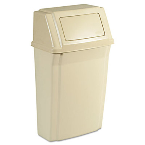 Rubbermaid Commercial Slim Jim Wall-Mounted Container, Rectangular, Plastic, 15gal, Beige (RCP 7822 BEI)