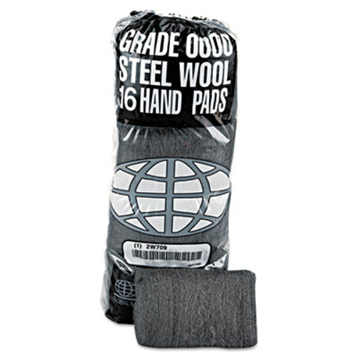 GMT Industrial-Quality Steel Wool Hand Pad   0000 Super Fine  16 Pack  192 Carton (GMT 117000)