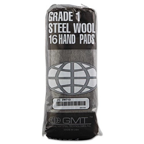 GMT Industrial-Quality Steel Wool Hand Pad   1 Medium  16 Pack  192 Carton (GMT 117004)