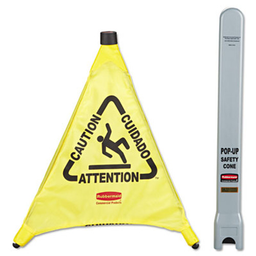 Rubbermaid Commercial Multilingual  Caution  Pop-Up Safety Cone  3-Sided  Fabric  21 x 21 x 20  Yellow (RCP 9S00 YEL)