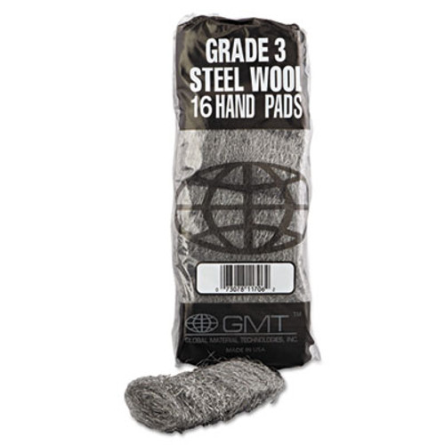 GMT Industrial-Quality Steel Wool Hand Pad   3 Medium  16 Pack  192 Carton (GMT 117006)