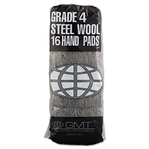 GMT Industrial-Quality Steel Wool Hand Pad   4 Extra Coarse  16 Pack  192 Carton (GMT 117007)