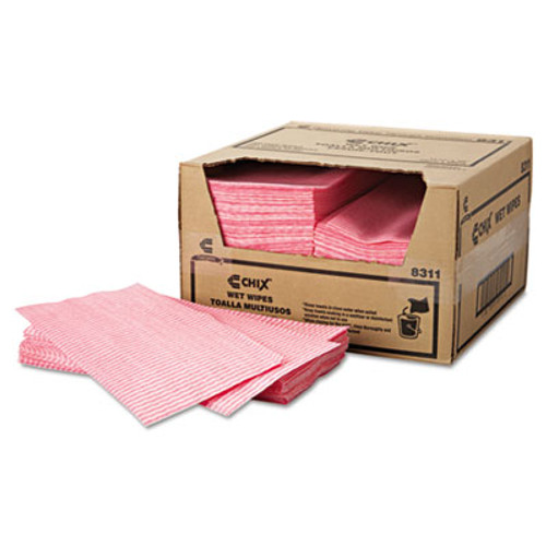 Chix Wet Wipes  11 1 2 x 24  White Pink  200 Carton (CHI 8311)