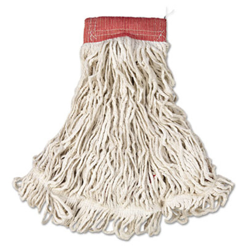 Rubbermaid Commercial Web Foot Wet Mop  Cotton Synthetic  White  Large  5  Red Headband  6 Carton (RCP A153 WHI)
