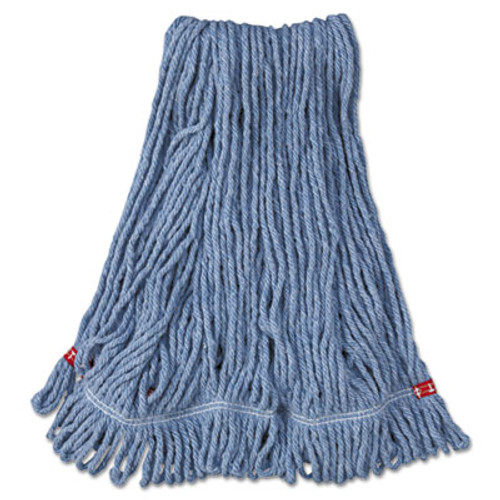 Rubbermaid Commercial Web Foot Wet Mop Head  Shrinkless  Cotton Synthetic  Blue  Medium  6 Carton (RCP A212 BLU)