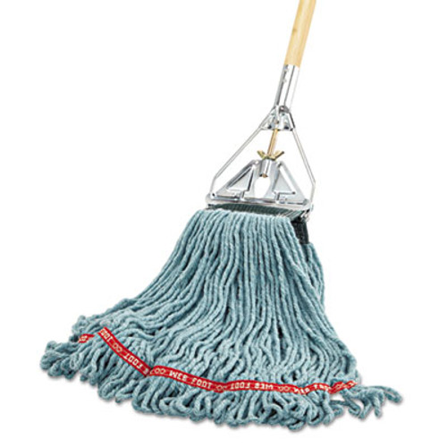Rubbermaid Commercial Web Foot Wet Mop Head  Shrinkless  Cotton Synthetic  Green  Medium  6 Carton (RCP A252 GRE)