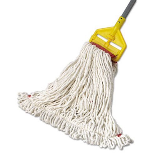 Rubbermaid Commercial Web Foot Wet Mop Head  Shrinkless  Cotton Synthetic  White  Large  6 Carton (RCP A253 WHI)