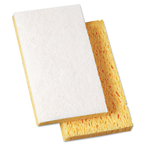 Boardwalk Scrubbing Sponge  Light Duty  3 6 x 6 1  0 7  Thick  Yellow White  Individually Wrapped  20 Carton (PAD 163-20)