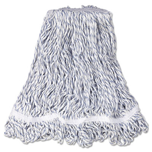 Rubbermaid Commercial Web Foot Finish Mop  White  Med  Cotton Synthetic  1   White Headband  6 Carton (RCP A412)