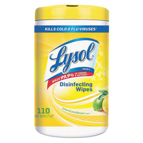 LYSOL Brand Disinfecting Wipes, Lemon Lime, White, 7 x 8, 110/Canister, 6 Canisters/CT (REC 78849)