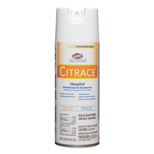 Clorox Healthcare Citrace Hospital Disinfectant & Deodorizer, Citrus, 14oz Aerosol, 12/Carton (CLO 49100)