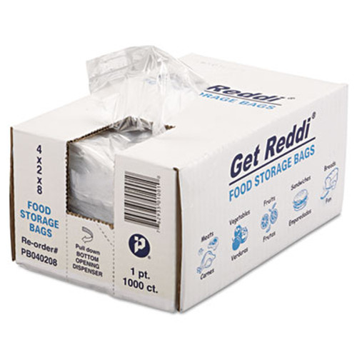Inteplast Group Get Reddi Food & Poly Bag, 4 x 2 x 8, 16oz, .68mil, Clear, 1000/Carton (IBS PB040208)