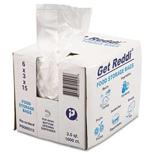 Inteplast Group Get Reddi Food & Poly Bag, 6 x 3 x 15, 3.5qt, .68mil, Clear, 1000/Carton (IBS PB060315)