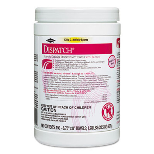 Clorox Healthcare Dispatch Cleaner Disinfectant Towels, 6 3/4 x 8, 150/Can, 8 Canisters/Carton (CLO 69150)