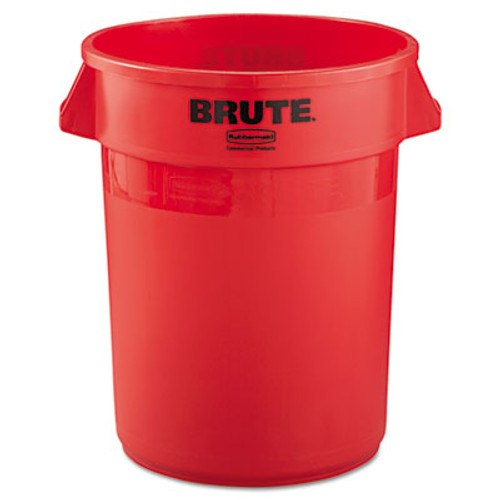 Rubbermaid Commercial Round Brute Container, Plastic, 32 gal, Red (RCP 2632 RED)