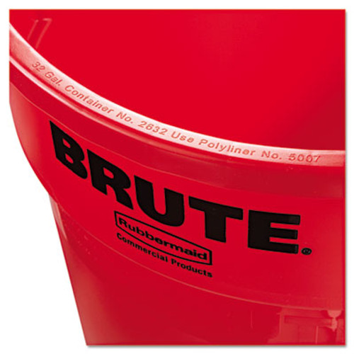 RubbermaidA Commercial Round Brute Container, Plastic, 32 gal, Red (RCP 2632 RED)