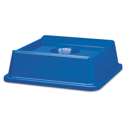 Rubbermaid Commercial Untouchable Bottle & Can Recycling Top, Square, 20 1/8 x 20 1/8 x 6 1/4, Blue (RCP 2791 BLU)