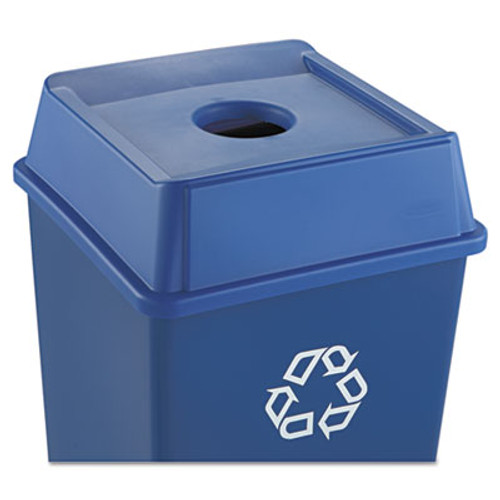 Rubbermaid Commercial Untouchable Bottle and Can Recycling Top  Square  20 13w x 20 13d x 6 25h  Blue (RCP 2791 BLU)