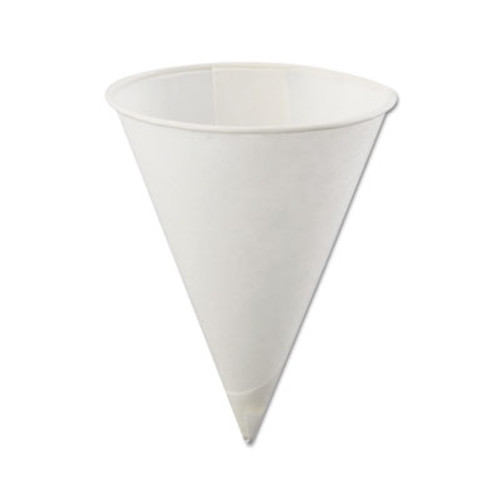 Konie Rolled Rim  Poly Bagged Paper Cone Cups  4oz  White  5000 Carton (KCI 4.0KBR)
