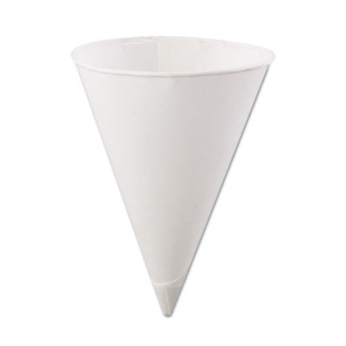 Konie Rolled-Rim Paper Cone Cups, 4.5oz, White, 200/Bag, 25 Bags/Carton (KCI 4.5KR)