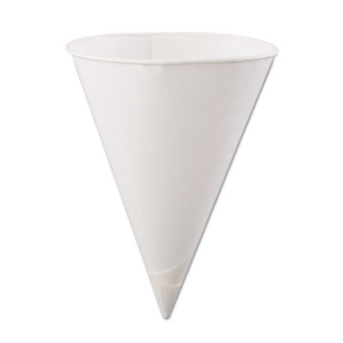 Konie Rolled-Rim Paper Cone Cups, 6oz, White, 200/Bag, 25 Bags/Carton (KCI 6.0KBR)