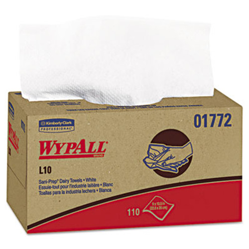 WypAll L10 SANI-PREP Dairy Towels POP-UP Box  1Ply  10 1 2x10 1 4  110 Pk  18 Pk Carton (KCC 01772)