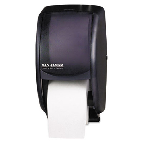 San Jamar Duett Standard Bath Tissue Dispenser  2 Roll  7 1 2w x 7d x 12 3 4h  Black Pearl (SAN R3500TBK)