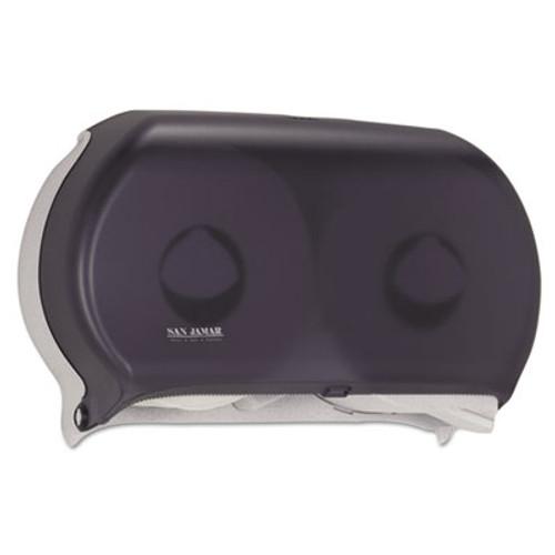 San Jamar Twin 9  Jumbo Tissue Dispenser  19 x 5 1 4 x 12  Transparent Black Pearl (SAN R4000TBK)