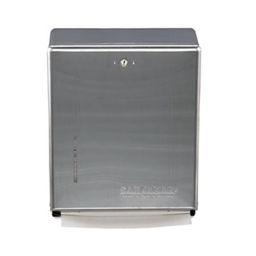 San Jamar C-Fold Multifold Towel Dispenser  Stainless Steel  11 3 8 x 4 x 14 3 4 (SAN T1900SS)