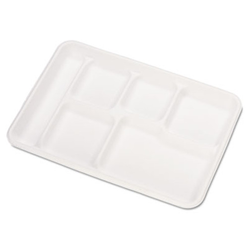 Chinet Heavy-Weight Molded Fiber Cafeteria Trays  6-Comp  8 1 2 x 12 1 2  500 Carton (HUH VALISE)
